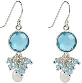 Michelle Smith Collection Sterling Silver Aquamarine Earrings w/ Moonstone Briolette and Blue Quartz Clusters