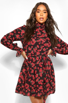 boohoo Floral High Neck Smock Dress