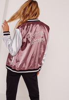 Missguided Graphic Satin Bomber Jacket Purple