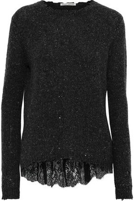 Autumn Cashmere Lace-trimmed Distressed Marled Cashmere Sweater