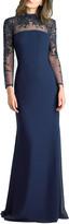 Basix II Beaded Mock-Neck Long-Sleeve Sheer-Yoke Gown