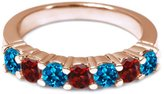 Gem Stone King 1.40 Ct Round London Blue Topaz Red Garnet 14K Rose Gold Wedding Band Ring