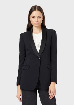 Emporio Armani Envers-Satin Jacket With Shawl Collar