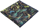 Gucci Men's Tropical Print Silk Scarf In Black And Green