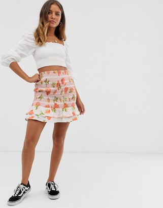 Sacred Hawk shirred waist mini skirt in floral-Pink