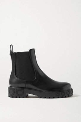 Salvatore Ferragamo Varsi Leather Chelsea Boots - Black