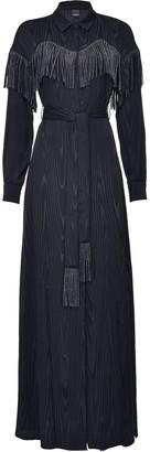 Pinko Fringed-Yoke Belted Maxi Dress