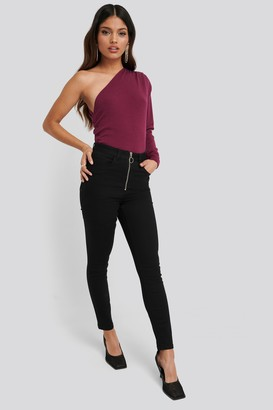 NA-KD Exposed Zipper High Waist Skinny Jeans Black