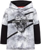 Very Skull Grunge Mock Sleeve Hoodie