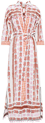 Dodo Bar Or Broderie Anglaise-trimmed Embroidered Cotton-gauze Midi Shirt Dress