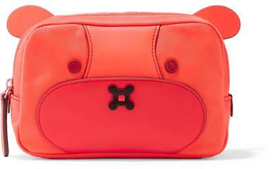 Anya Hindmarch Bear Leather-trimmed Shell Cosmetics Case - Papaya