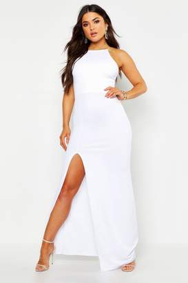 boohoo High Neck Split Side Maxi Dress