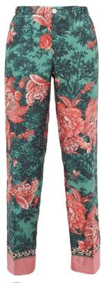 F.R.S For Restless Sleepers F.R.S – For Restless Sleepers Etere Floral Print Silk Straight Leg Trousers - Womens - Green Multi
