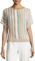 St. John Short-Sleeve Knit Striped Sweater, Multi