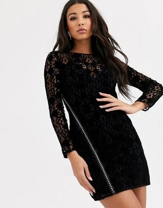 Asos Design DESIGN lace mini dress with embellished diamante zip detail-Black