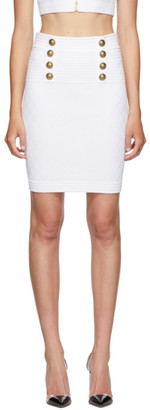 Balmain White Diamond Knit 6-Button Skirt