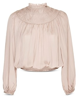 Frame Smocked High Neck Blouse