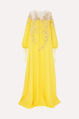 Oscar de la Renta Metallic Appliquéd Silk-crepe Gown - Yellow