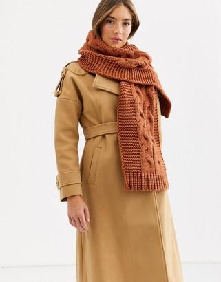 Accessorize Bea oversized camel tan cable scarf