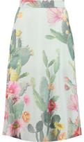 Matthew Williamson Floral-Print Silk-Crepe Midi Skirt