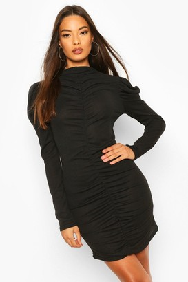 boohoo Rib Rouche Front Mini Dress