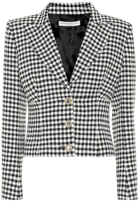 Alessandra Rich Embellished houndstooth tweed blazer