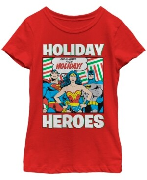 Fifth Sun Dc Comic's Big Girl's Justice League Be A Hero This Holiday Short Sleeve T-Shirt