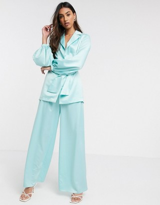 ASOS DESIGN soft satin wide leg suit pants
