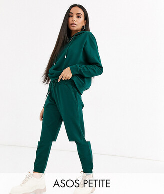 Asos DESIGN Petite tracksuit hoodie / slim jogger with tie in organic cotton-Green