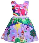 LEMONBABY Girl's My Little Pony Sleeveless Princess Birthday Dress (5-6Y, )