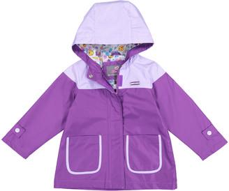 Skechers Girls' Rain Coats PURPLE - Purple Color Block Hooded Raincoat - Infant, Toddler & Girls