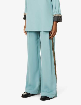 Max Mara Extra metallic-panel silk-crepe trousers