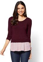 New York & Co. 7th Avenue - Crewneck Twofer Sweater - Dot Print