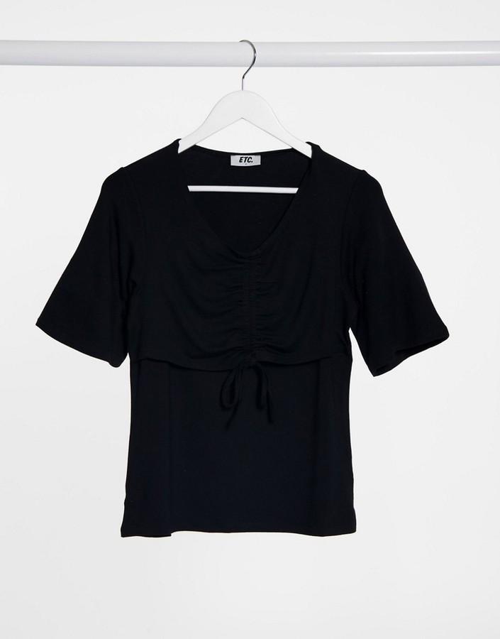 ELVI ruched front t-shirt in black