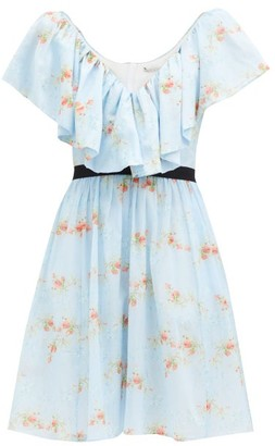 Emilia Wickstead Juniper Floral-print Ruffled Cotton Mini Dress - Blue Print