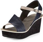 Coclico Mallow Asymmetric Wedge Sandal, Prussian/Faun