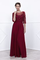 Unique Vintage Burgundy Three-Quarter Sleeve Embellished Sheer Long Dress