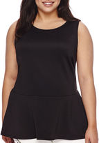 Bisou Bisou Sleeveless High-Low Crossback Peplum Top - Plus