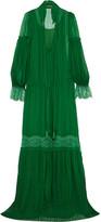 Roberto Cavalli Lace-trimmed Plissé Silk-chiffon Gown - Emerald