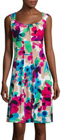 London Times London Style Collection Sleeveless Floral-Print Fit-and-Flare Dress