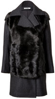 Jil Sander Fur Panel Coat in Dark Grey