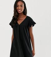 Asos Tall DESIGN Tall mini reversible cotton slub smock dress