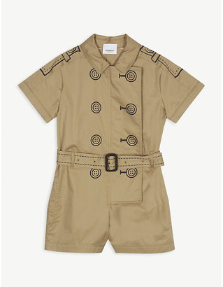 Burberry Trench coat print cotton playsuit 3-14 years