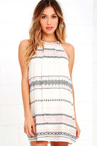 LuLu*s L.A. Woman Beige Embroidered Halter Dress