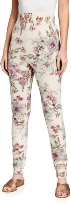 Adam Lippes Floral Printed Cashmere-Silk Sweatpants