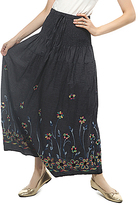 Black Floral-Embroidered Maxi Skirt - Plus