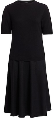 Lafayette 148 New York, Plus Size Merino Wool Cashmere Twofer Dress