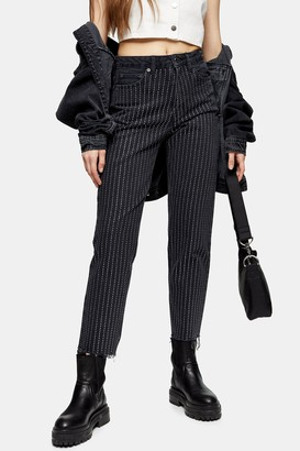 Topshop Womens Washed Black Diamante Stripe Jeans - Washed Black