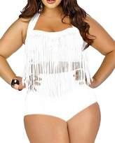 Spring fever 2 PCS Plus Size Retro High Waist Braided Fringe Top Bikini Swimwear Bathing Suit for Women(FBA)