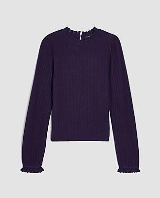 Ann Taylor Ruffle Trim Sweater